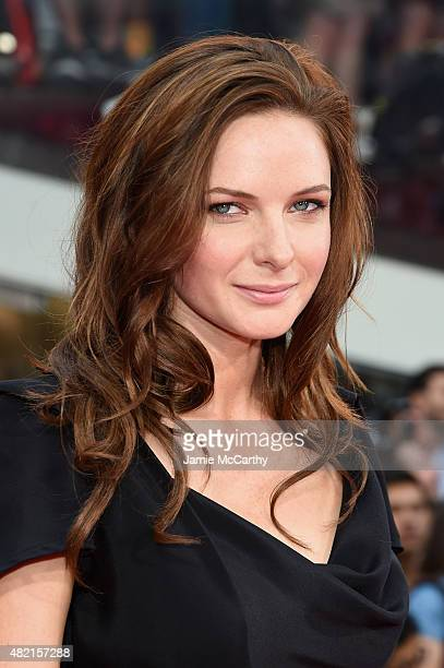 Actress Rebecca Ferguson attends the Mission Impossible Rogue Nation New York premiere at Duffy Square in Times Square on July 27 2015 in New York...