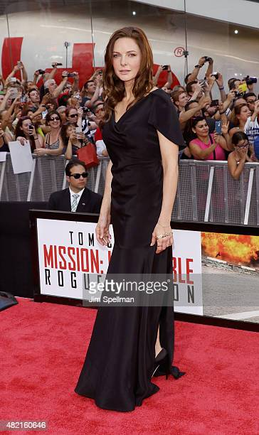 Actress Rebecca Ferguson attends the 'Mission Impossible Rogue Nation' New York premiere at Times Square on July 27 2015 in New York City