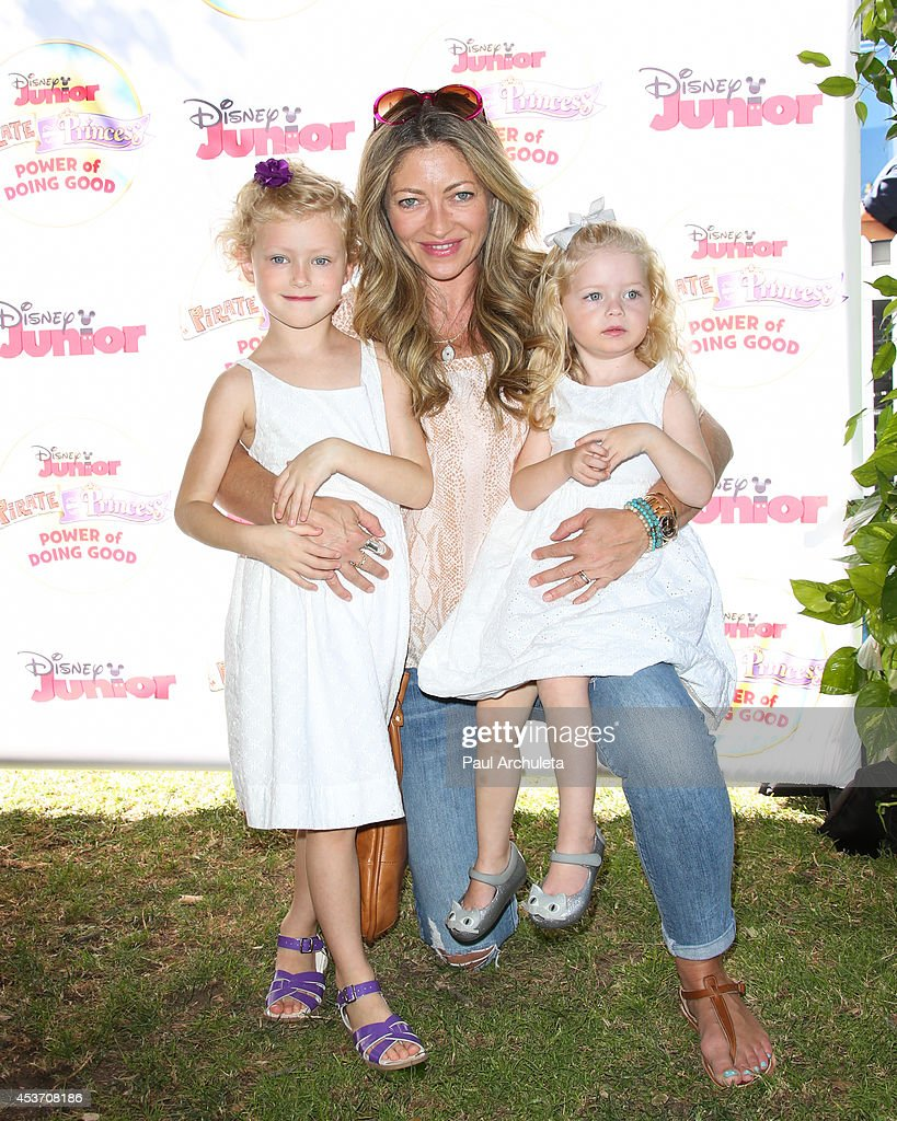 Actress Rebecca Gayheart (C) and Georgia Dane and Billie Beatrice Dane attend Disney Junior's 'Pirate And Princess: Power Of Doing Good' tour at Brookside Park on August 16, 2014 in Pasadena, California.
