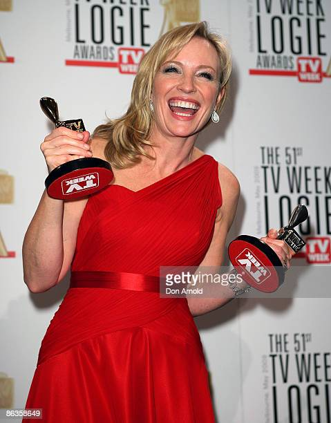 Actress Rebecca Gibney poses with the award for Most Popular Person on TV during the 51st TV Week Logie Awards at the Crown Towers Hotel and Casino...
