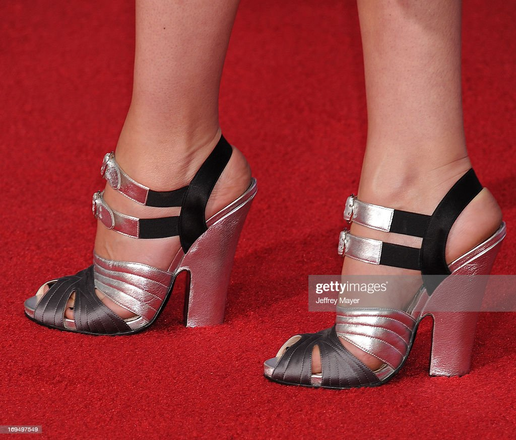 Actress Rebecca Hall (shoe detail) arrives at the Los Angeles Premiere of 'Iron Man 3' at the El Capitan Theatre on April 24, 2013 in Hollywood, California.