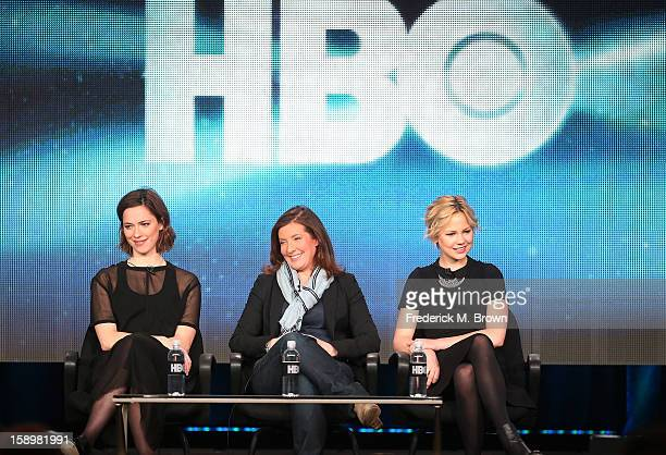 """Actress Rebecca Hall, director Susanna White, and actress Adelaide Clemens speak onstage during the """"Parade's End"""" panel discussion at the HBO..."""