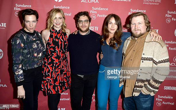"Actress Rebecca Henderson, actress Greta Gerwig, actor Matthew Shear, actress Lola Kirke and actor Michael Chernus attend the ""Mistress America""..."