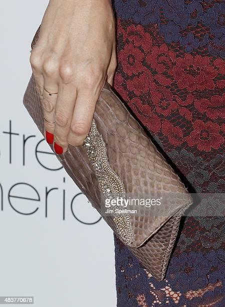 "Actress Rebecca Henderson, bag detail, attends the ""Mistress America"" New York premiere at Landmark Sunshine Cinema on August 12, 2015 in New York..."