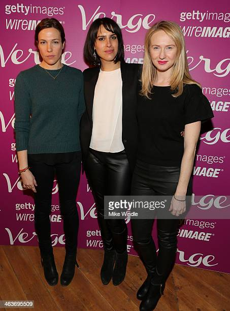 Actress Rebecca Henderson, Director Desiree Akhavan and Actress Halley Feiffer attend the Verge Sundance Party at Village At The Lift on January 18,...