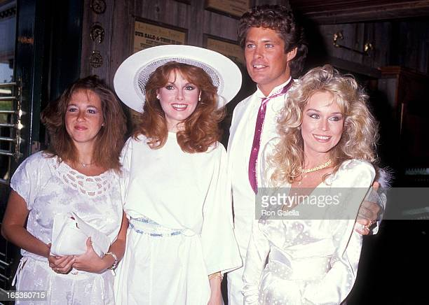 Actress Rebecca Holden actor David Hasselhoff and actress Catherine Hickland attend the Wedding Reception for David Hasselhoff and Catherine Hickland...