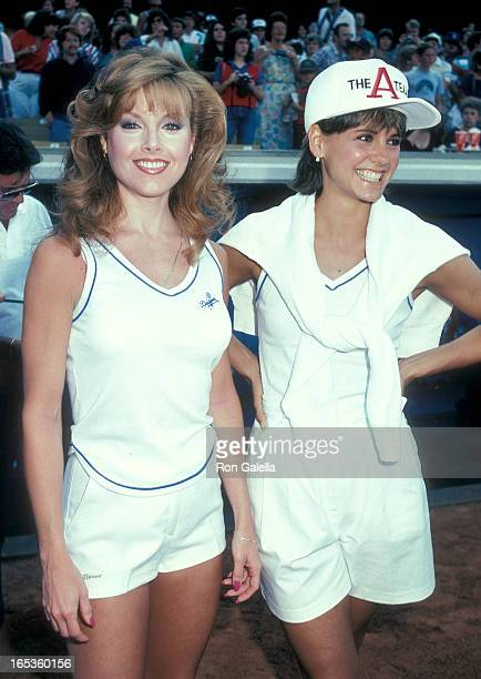 Actress Rebecca Holden and actress Melinda Culea attend the 26th Annual Hollywood Stars Night Celebrity Baseball Game on July 16 1983 at Dodger...
