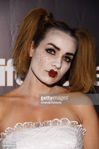 Actress Rebecca Marshall arrives at the Life Style Weekly's Eye Candy Halloween Bash hosted by LeAnn Rimes at Riviera 31 at Sofitel on October 29...