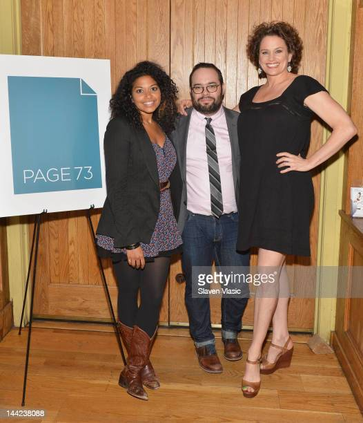 Actress Rebecca Naomi Jones playwright Matt Schatz and actress Cady Huffman attend the 2012 Page 73 Productions Spring Benefit at City Winery on May...