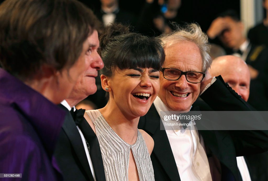 Actress Rebecca O'Brien (laughing), actor Dave Johns, director Ken Loach, actress Hayley Squires and actor Paul Laverty attend the 'I, Daniel Blake' premiere during the 69th annual Cannes Film Festival at the Palais des Festivals on May 13, 2016 in Cannes, France.