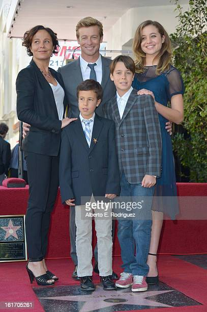 Actress Rebecca Rigg actor Simon Baker Stella Baker Harry Baker and Claude Baker attend a ceremony honoring Simon Baker with the 2490th Star on The...