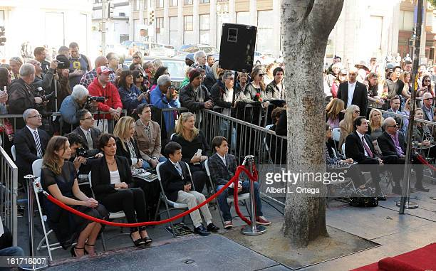 Actress Rebecca Rigg and children participate in Simon Baker's Star Ceremony on The Hollywood Walk Of Fame on February 14 2013 in Hollywood California