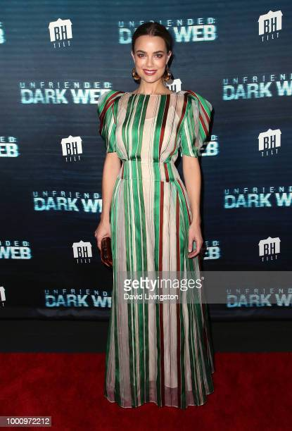 Actress Rebecca Rittenhouse attends the premiere of Blumhouse Productions and Universal Pictures' 'Unfriended Dark Web' at LA LIVE on July 17 2018 in...