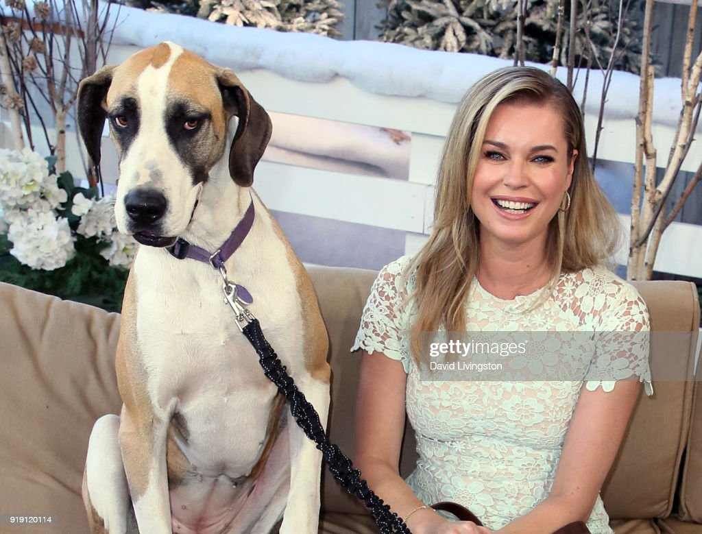 Actress Rebecca Romijn and her dog visit Hallmark's 'Home & Family' at Universal Studios Hollywood on February 16, 2018 in Universal City, California.