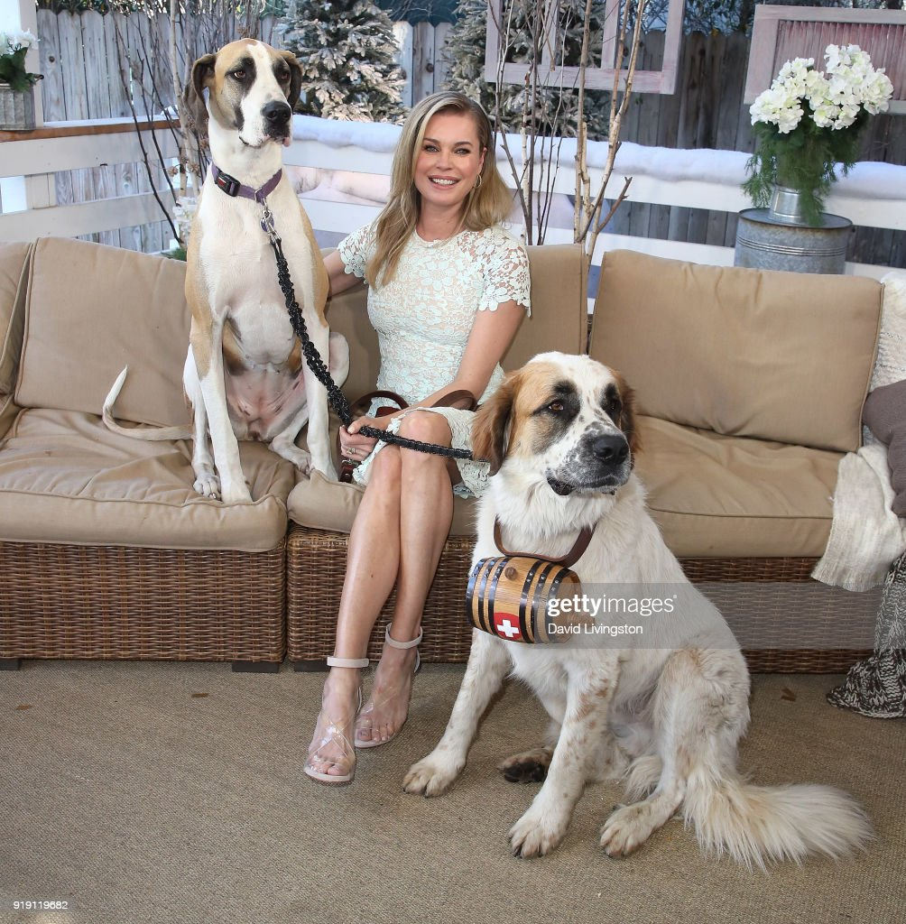 Actress Rebecca Romijn and her dogs visit Hallmark's 'Home & Family' at Universal Studios Hollywood on February 16, 2018 in Universal City, California.