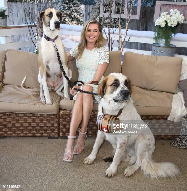 Actress Rebecca Romijn and her dogs visit Hallmark's 'Home Family' at Universal Studios Hollywood on February 16 2018 in Universal City California