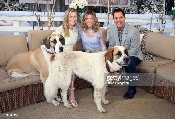 Actress Rebecca Romijn and hosts Debbie Matenopoulos and Mark Steines pose with Romijn's dogs at Hallmark's 'Home Family' at Universal Studios...