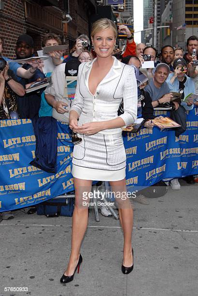 Actress Rebecca Romijn exits the Ed Sullivan Theater affer a taping of the Late Show with David Letterman May 18 2006 in New York City New York