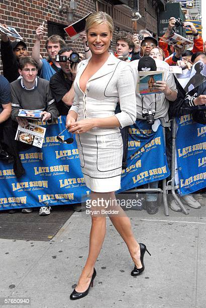 Actress Rebecca Romijn exits the Ed Sullivan Theater affer a taping of the 'Late Show with David Letterman' May 18 2006 in New York City New York