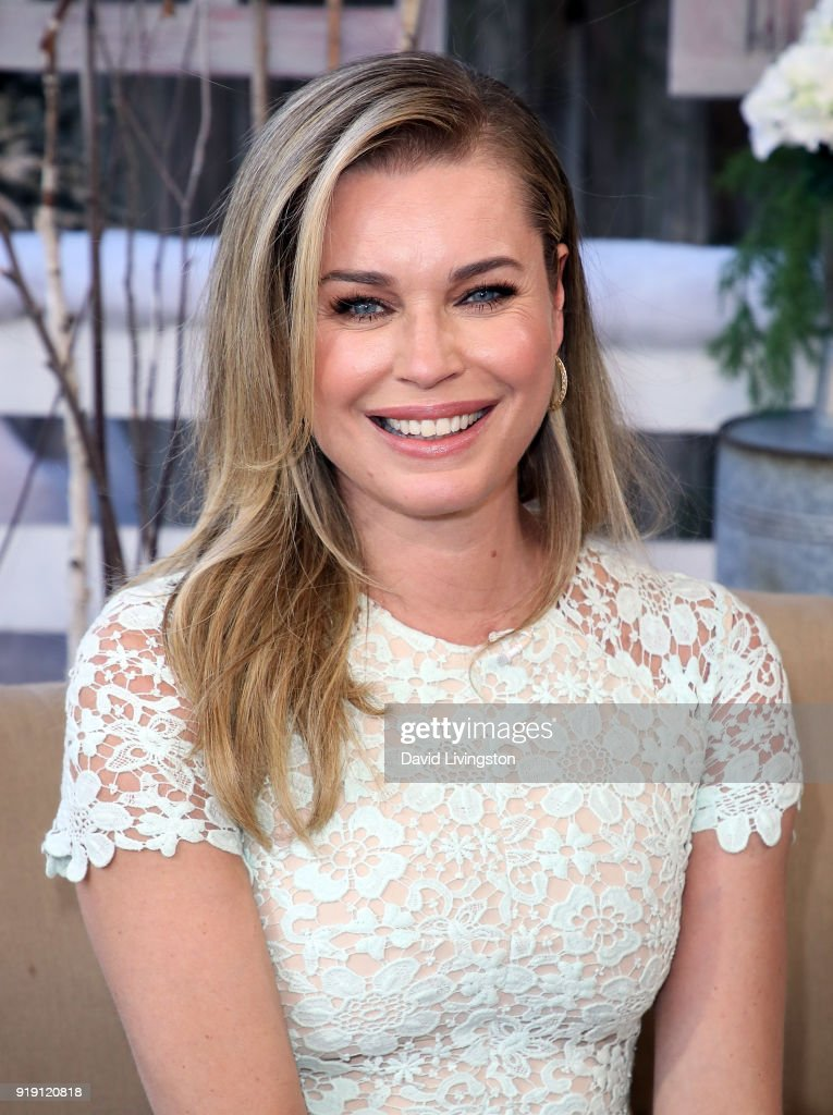 Actress Rebecca Romijn poses at Hallmark's 'Home & Family' at Universal Studios Hollywood on February 16, 2018 in Universal City, California.