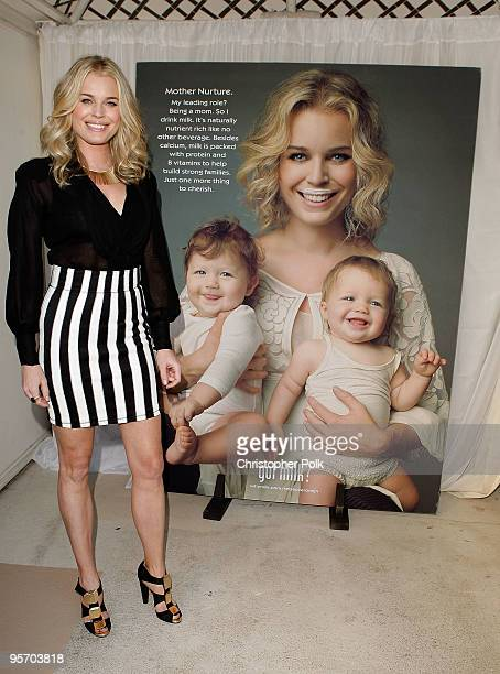 Actress Rebecca Romijn unveils her second Milk Mustache ad and kicks off the got milk 'Great Gallon Give' a partnership with Feeding America to give...