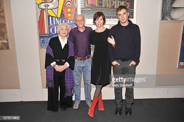 Actress Rebecca Schull director Jeff Lipsky and actors Julianne Nicholson and Jamie Harrold attend a sneak preview of Flannel Pajamas presented by...