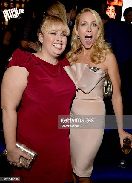 Actress Rebel Wilson and Anna Camp attend the Pitch Perfect Los Angeles premiere after party held at Lush on September 24 2012 in Hollywood California