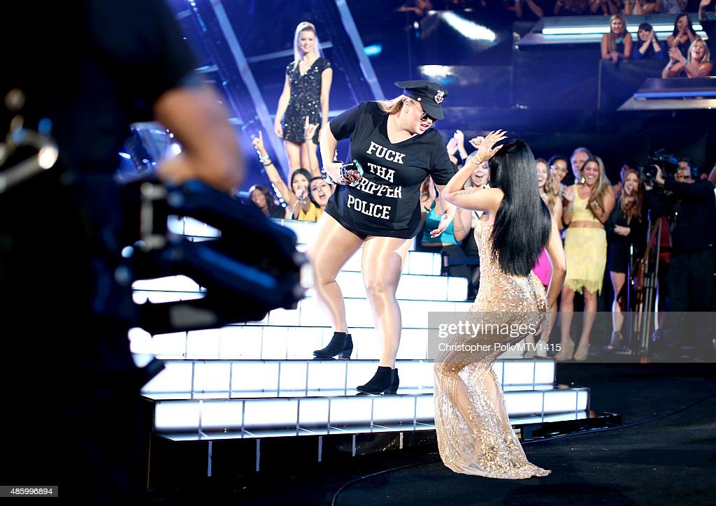 Actress Rebel Wilson (L) and recording artist Nicki Minaj perform onstage during the 2015 MTV Video Music Awards at Microsoft Theater on August 30, 2015 in Los Angeles, California.