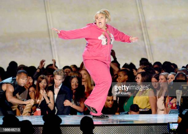 Actress Rebel Wilson performs onstage during the 2013 MTV Movie Awards at Sony Pictures Studios on April 14 2013 in Culver City California