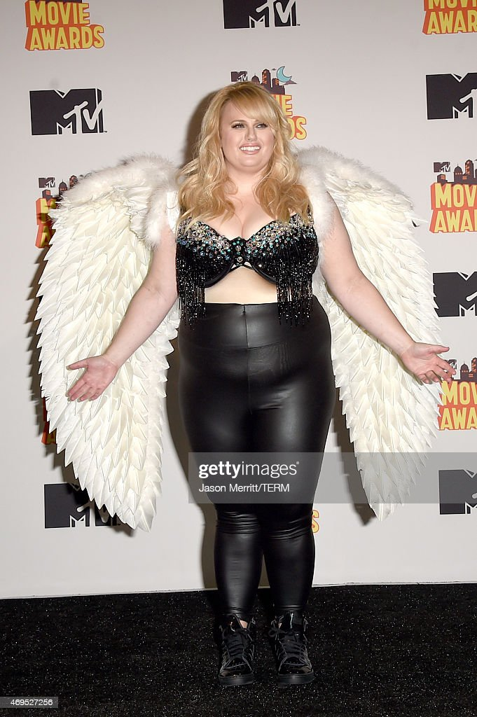 Actress Rebel Wilson poses in the press room during The 2015 MTV Movie Awards at Nokia Theatre L.A. Live on April 12, 2015 in Los Angeles, California.