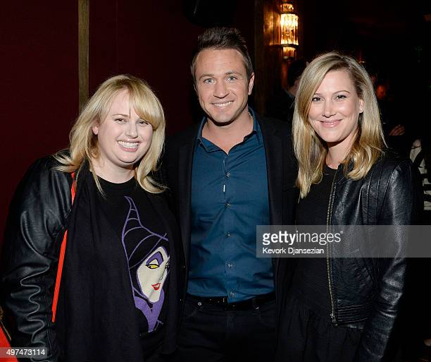 Actress Rebel Wilson television host Matt Doran Master Chef Justine Schofield pose during screening of the FoxTel and HBO's war documentary 'Only The...