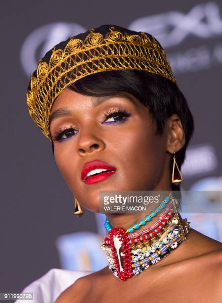 Actress recording artist Janelle Monáe attends the world premiere of Marvel Studios Black Panther, on January 29 in Hollywood, California. / AFP...