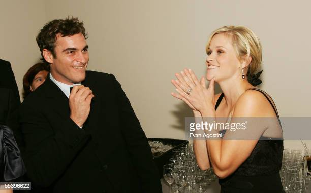 Actress Reese Witherspoon and actor Joaquin Phoenix attend the gala premiere of 'Walk The Line' at Roy Thomson Hall during the 2005 Toronto...