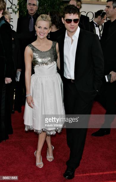 Actress Reese Witherspoon and actor Ryan Phillippe arrive to the 63rd Annual Golden Globe Awards at the Beverly Hilton on January 16 2006 in Beverly...