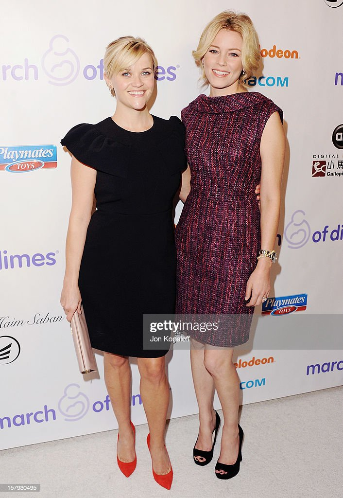 Actress Reese Witherspoon and actress Elizabeth Banks arrives at the March Of Dimes Celebration Of Babies Luncheon at Beverly Hills Hotel on December 7, 2012 in Beverly Hills, California.