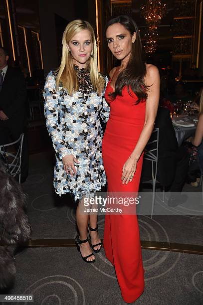 Actress Reese Witherspoon and designer Victoria Beckham attend the 2015 Glamour Women of The Year Awards dinner hosted by Cindi Leive at The Rainbow...