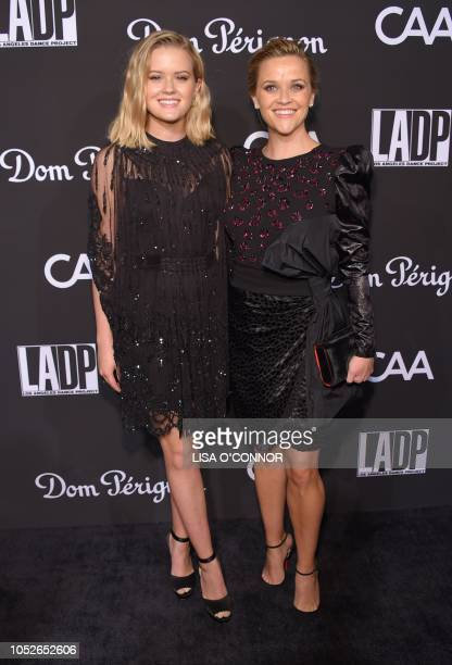 US actress Reese Witherspoon and her daughter Ava Phillippe attend the LA Dance Project Gala 2018 in Los Angeles California on October 20 2018