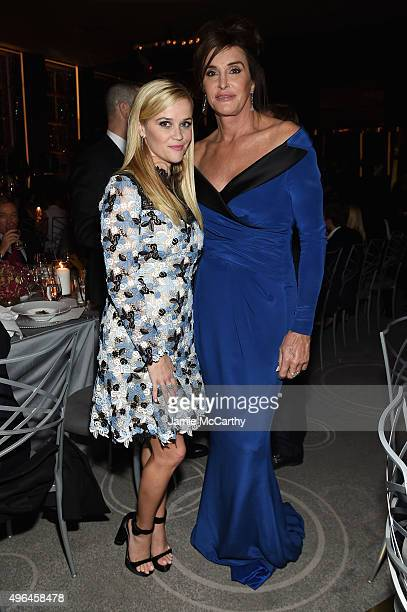 Actress Reese Witherspoon and honoree Caitlyn Jenner attend the 2015 Glamour Women of The Year Awards dinner hosted by Cindi Leive at The Rainbow...