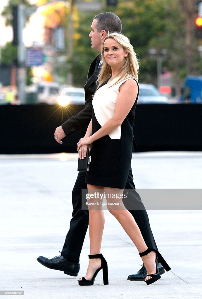 Actress Reese Witherspoon (R) and husband Jim Toth attend The Broad museum's inaugural celebration September 18, 2015, in Los Angeles, California.