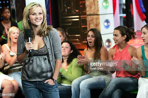 Actress Reese Witherspoon appears onstage during MTV's Total Request Live at the MTV Times Square Studios on September 14 2005 in New York City