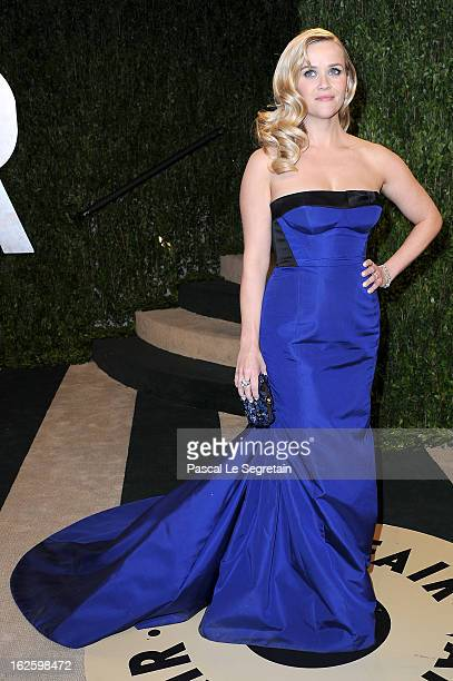 Actress Reese Witherspoon arrives at the 2013 Vanity Fair Oscar Party hosted by Graydon Carter at Sunset Tower on February 24 2013 in West Hollywood...