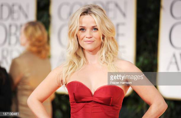 Actress Reese Witherspoon arrives at the 69th Annual Golden Globe Awards held at the Beverly Hilton Hotel on January 15 2012 in Beverly Hills...