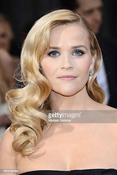 Actress Reese Witherspoon arrives at the Oscars at Hollywood Highland Center on February 24 2013 in Hollywood California