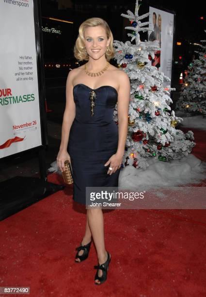 """Actress Reese Witherspoon arrives on the red carpet of the Los Angeles Premiere of """"Four Christmases"""" at the Grauman's Chinese Theater on November..."""