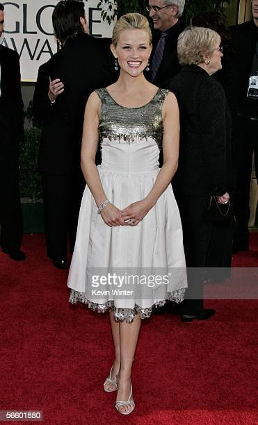 Actress Reese Witherspoon arrives to the 63rd Annual Golden Globe Awards at the Beverly Hilton on January 16 2006 in Beverly Hills California