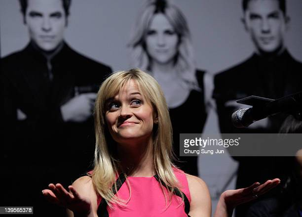 Actress Reese Witherspoon attends the 'This Means War' press conference at Lotte Cinema on February 23 2012 in Seoul South Korea The film will open...