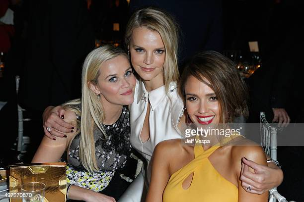Actress Reese Witherspoon copresident of Baby2Baby Kelly Sawyer Patricof and gala chair member Jessica Alba attend the 2015 Baby2Baby Gala presented...
