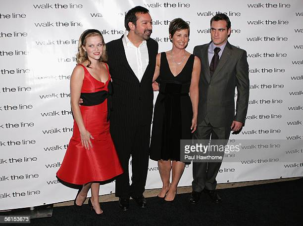 """Actress Reese Witherspoon, director and co-writer James Mangold, producer Cathy Konrad and actor Joaquin Phoenix attend the premiere of """"Walk The..."""