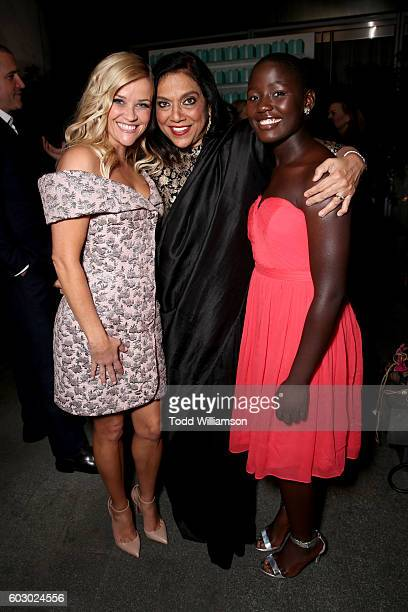 Actress Reese Witherspoon Director Mira Nair and actress Madina Nalwanga attend the Vanity Fair and Tiffany Co private dinner toasting Lupita Nyong'o...