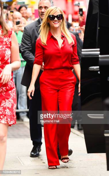 """Actress Reese Witherspoon is seen outside """"Good Morning America"""" on September 17, 2018 in New York City."""